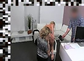 female agent and her assistant fucks blonde on casting